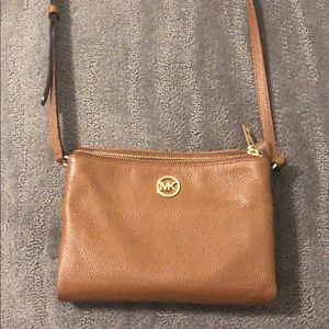 Camel cross body satchel